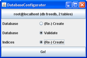 DatabaseConfigurator ready to validate and create indices