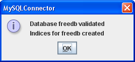 MySQLConnector validate and create indices ok